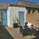 Courtyard for 2 coastguard cottages, keyhaven holiday home